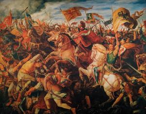 Foto z expozice bitvy na Moravském poli v Jedenspeigenu